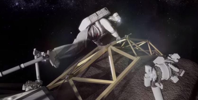 Astronauts explore asteroid boulder