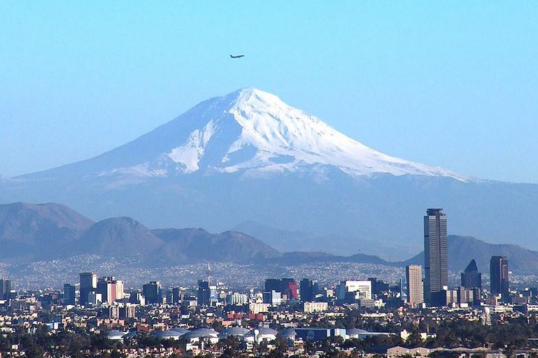Mexico City and the Popo volcano