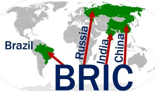 BRIC - Brazil Russia India China map