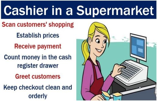 Cashier in a supermarket - duties