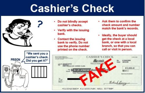 Beware of cashier's check