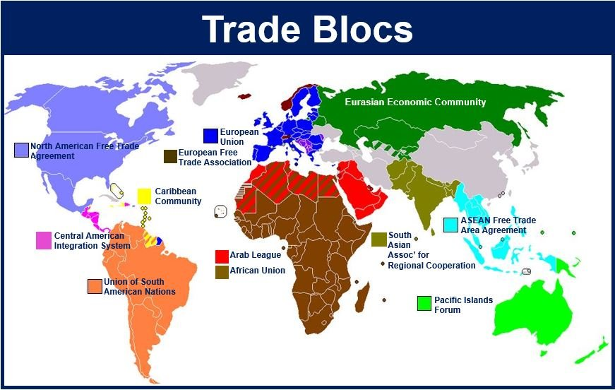 Image result for trade blocs map
