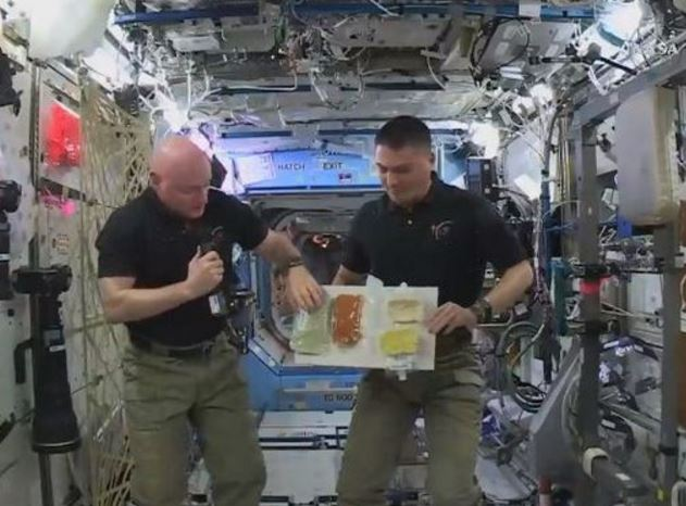 NASA astronauts celebrating thanksgiving