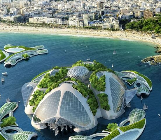 Underwater Village Aequorea With Skyscrapers Designed By Belgian - Physalia-a-huge-floating-garden-by-vincent-callebaut