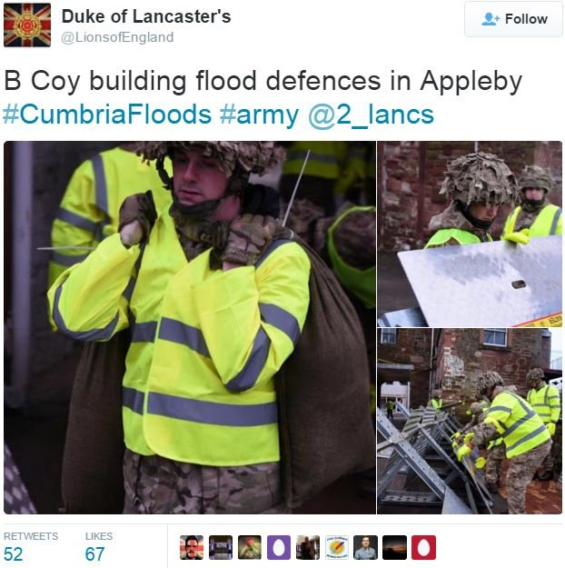 Army deployed in Cumbria to help out