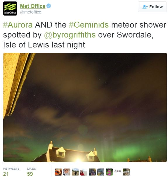 Geminid Meteor Shower and northern lights simultaneously