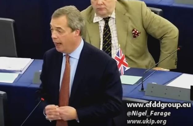 Nigel Farage addressing the European Parliament