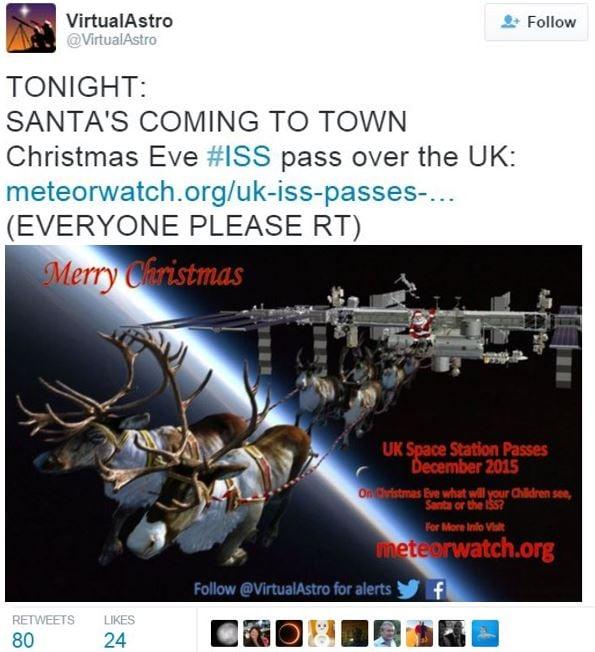 Santa sleigh flying over British skies Xmas Eve