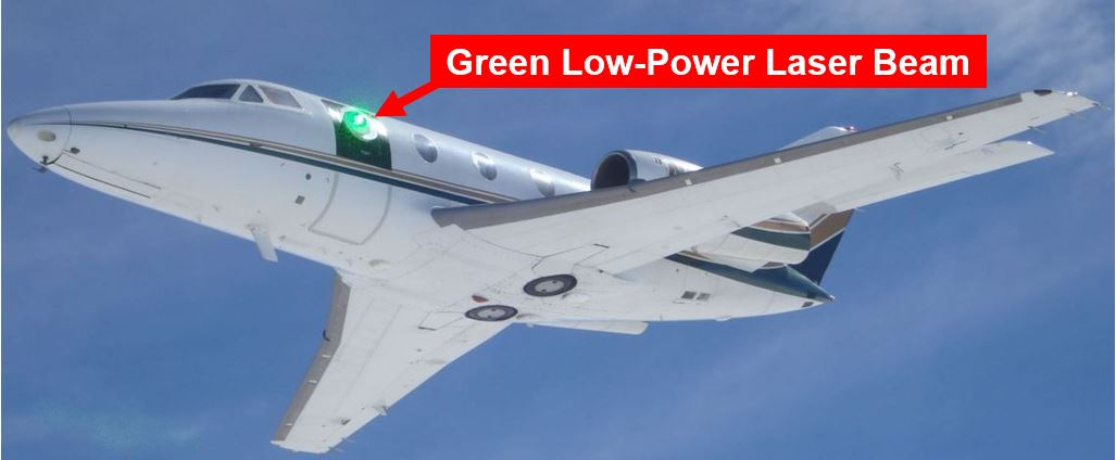 Testing laser technology on airplane