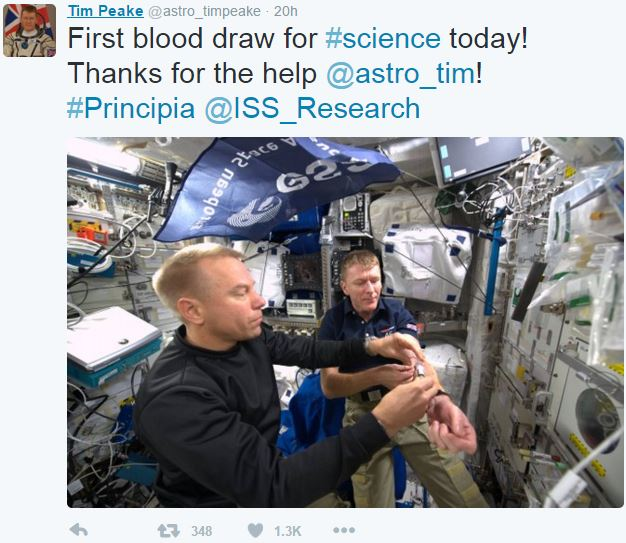 Tim Peake first draw of blood