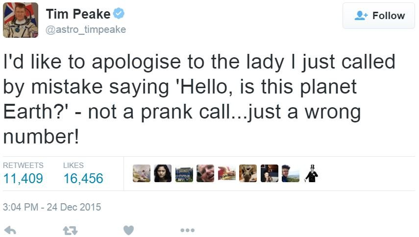 Time Peake first prank call from space