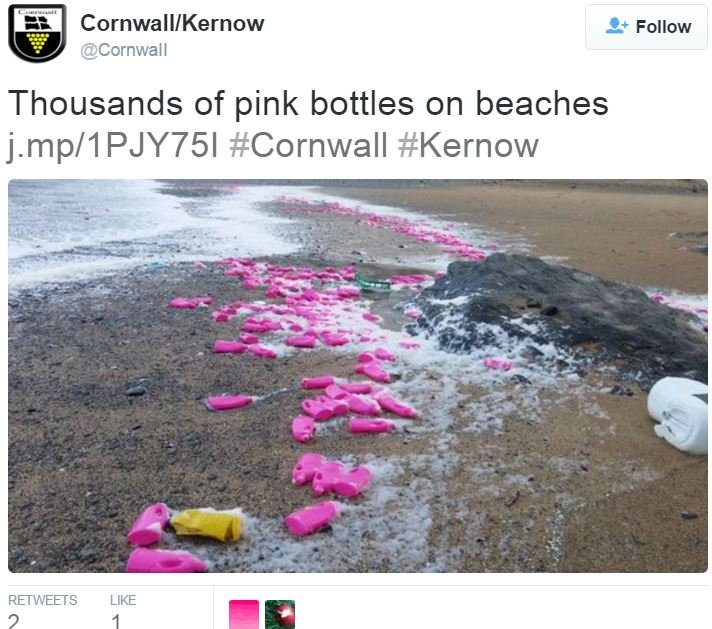 Pink bottles washed up on Cornwall beaches