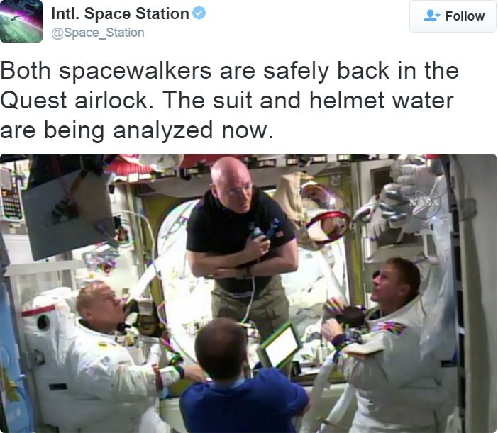 Two spacewalkers safely back in ISS