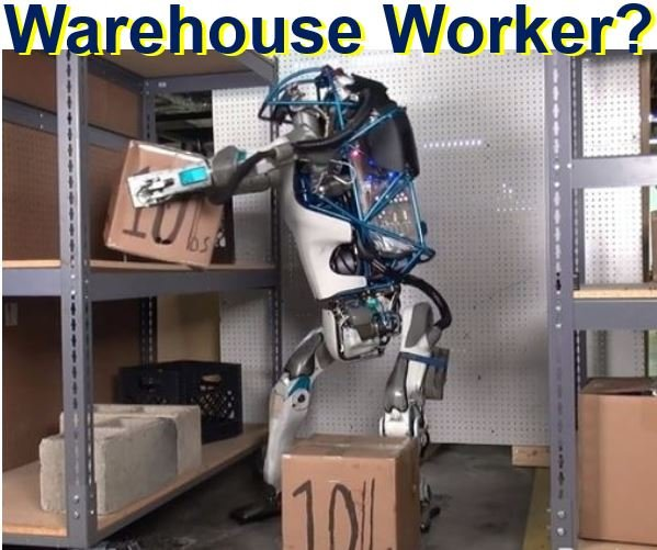 Atlas robot doing warehouse manual work