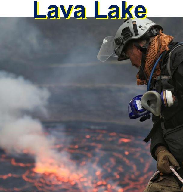 Lava lake below the intrepid climber