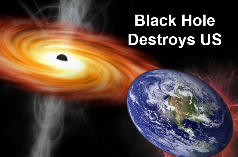 Mini black hole destroying Earth