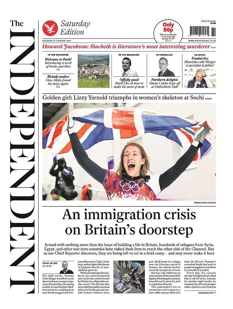 The Independent front page, 15 February 2014