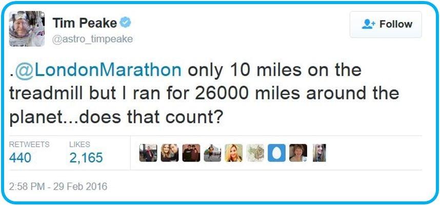 Tim Peake runs on treadmill