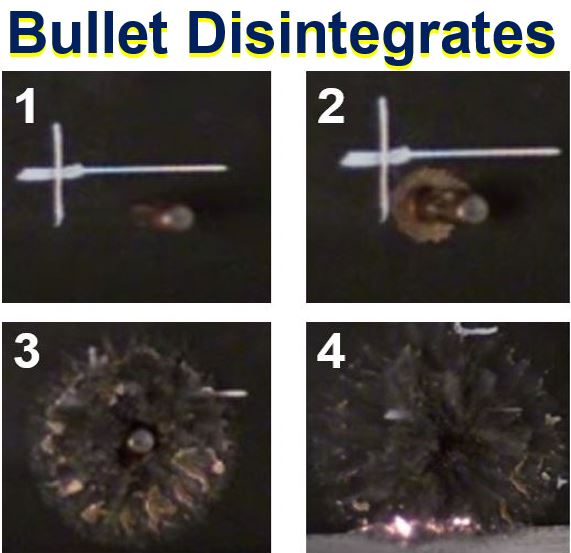 Bullet disintegrates when it touches metal foam