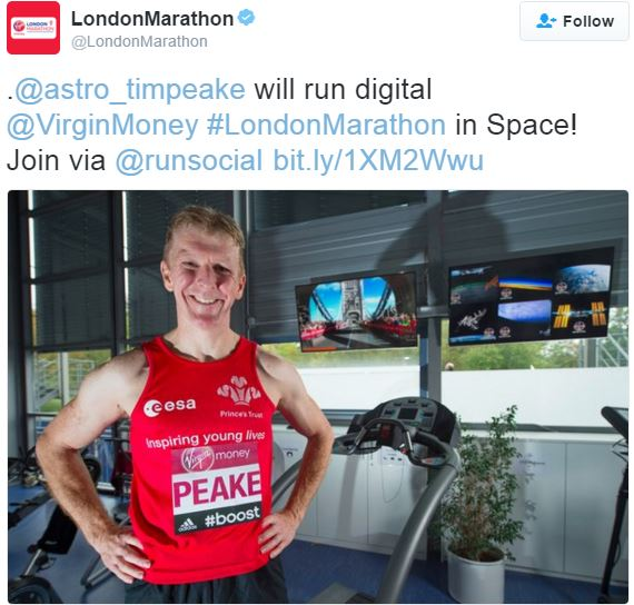 London Marathon twitter photo Tim Peake