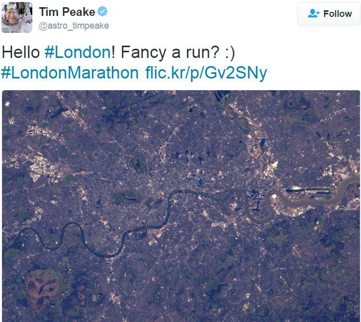 Time Peake London Marathon 2016