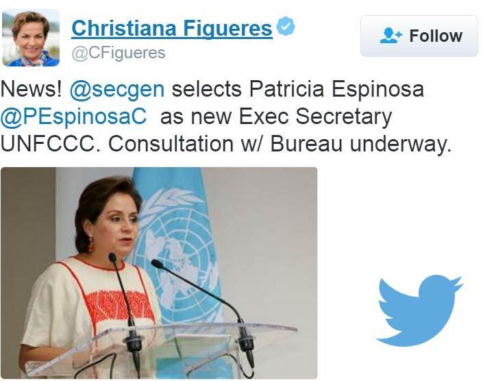 Christiana Figueres congratulates Patricia Espinosa
