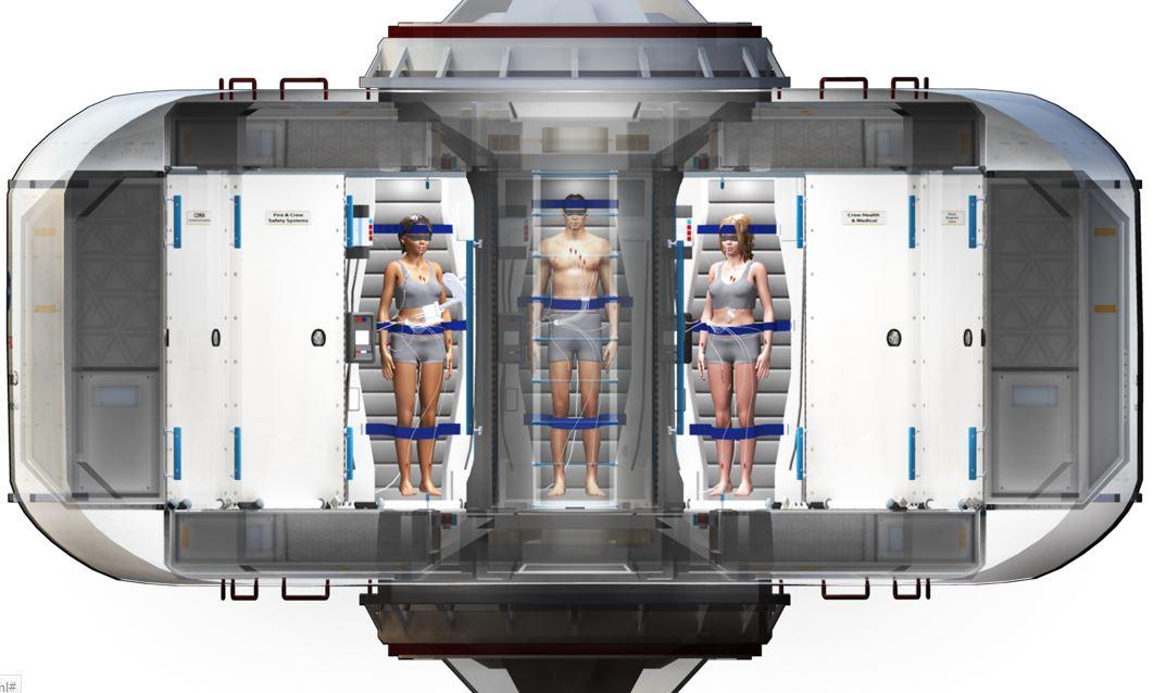 Cryosleep chamber with three astronauts