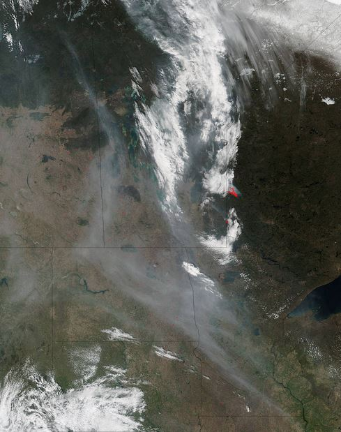 Suomi NPP satellite image of wildfire in Canada