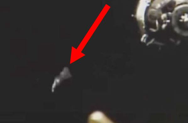 Weird object flying near ISS