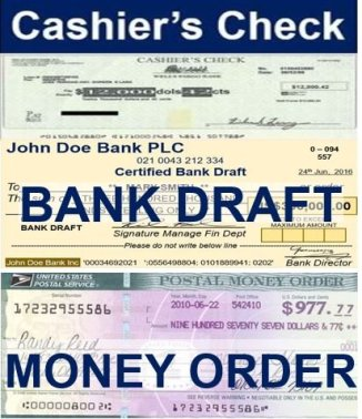 money order bank draft and cashiers check