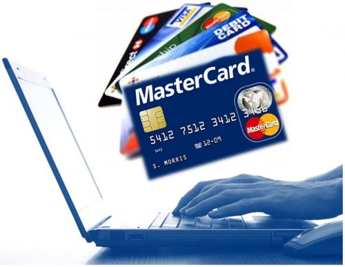 laptop and payment cards