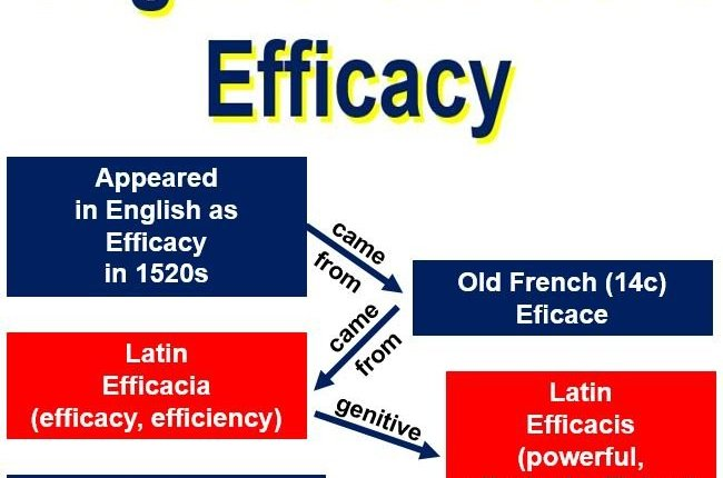 Origin of the word efficacy