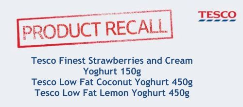 Tesco's notice to customers about yogurt recall