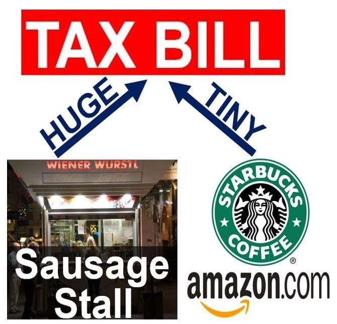 Sausage stalls Starbucks Amazon tax bills
