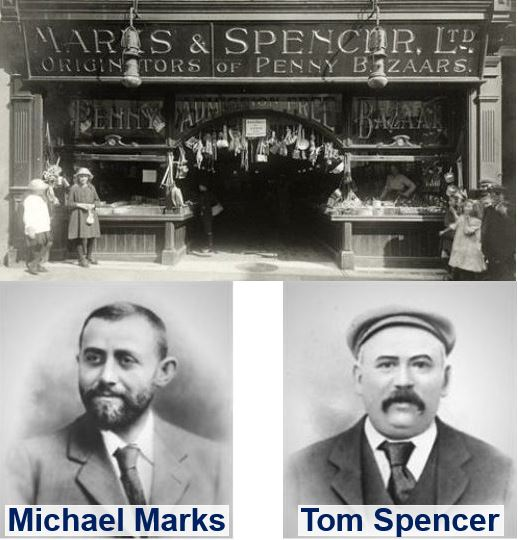 The first Marks and Spencer shop and its founders