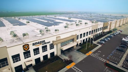 rooftop solar power Amazon warehouse