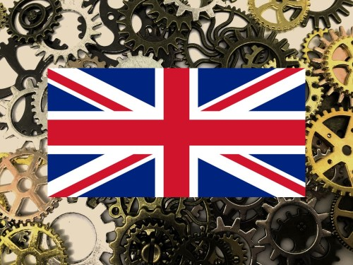 UK manufacturing - flag cogs gears