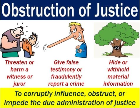 Obstruction of justice - image with explanation and examples