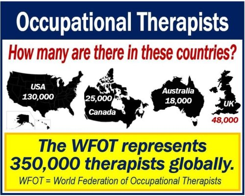 Occupational therapist numbers in different countries