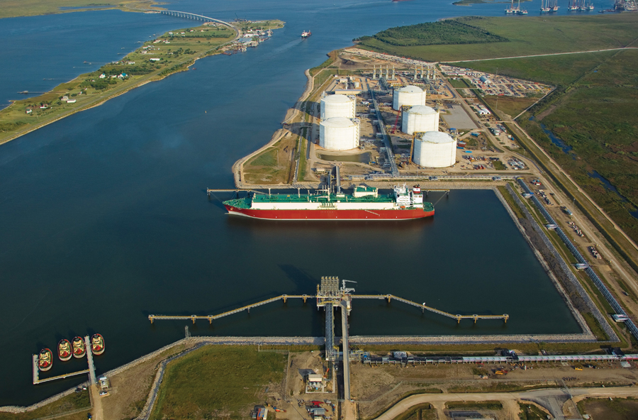 The Golden Pass LNG Terminal in Sabine Pass, Texas