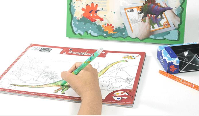 Colorpop dinosaur colouring book step 1