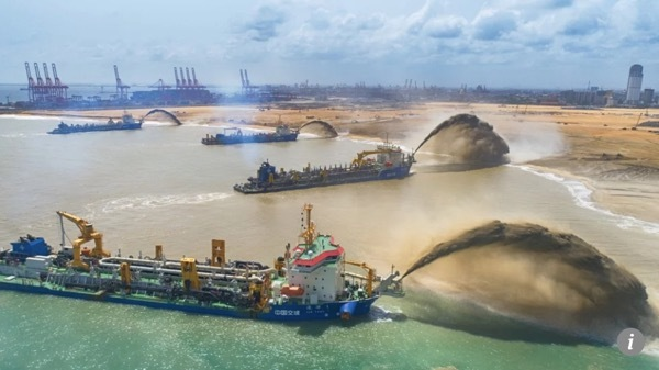 Chinese firm completes US$1.4 billion land reclamation works for Sri Lanka's Colombo Port City project