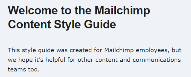 Mailchimp's Style Guide Welcome