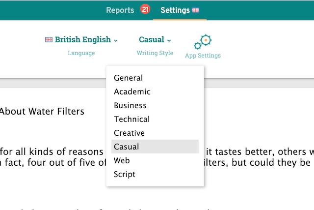 ProWritingAid's Writing Styles Screenshot