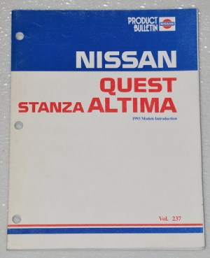 1993 NISSAN QUEST STANZA ALTIMA New Product Model