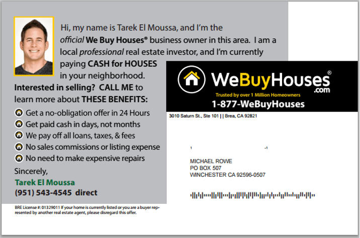 Direct Mail We Buy Houses® Marketing Portal