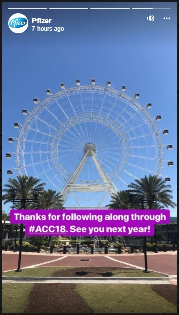 Pfizer Facebook story from the 2018 ACC conference.