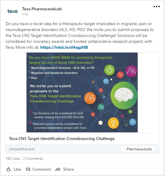 TEVA CNS disorder challenge linkedin