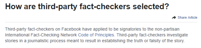 new fact checkers on fb - jan 8 2019 - fb explanation of 'fact checker'