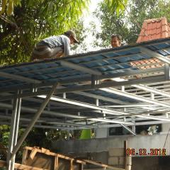 Biaya Membuat Garasi Mobil Dengan Baja Ringan Harga Canopy Sumber Truss Atap Genteng Metal